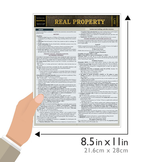 Quick Study QuickStudy Real Property Laminated Reference Guide BarCharts Publishing Legal Reference Law Outline Guide Size