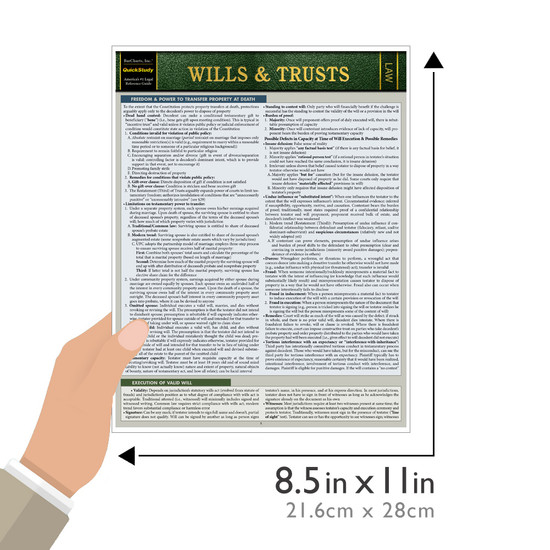 Quick Study QuickStudy Wills & Trusts Laminated Reference Guide BarCharts Publishing Legal Reference Law Outline Guide Size