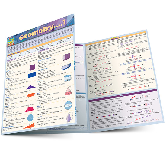 QuickStudy Quick Study Geometry Part 1 Laminated Study Guide BarCharts Publishing Math Study Guide Main Image
