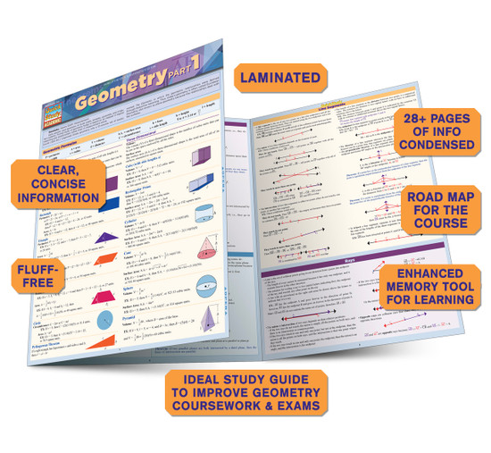 QuickStudy Quick Study Geometry Part 1 Laminated Study Guide BarCharts Publishing Math Study Guide Benefits