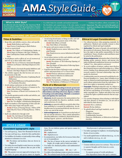 QuickStudy | AMA Style Guidelines Laminated Study Guide
