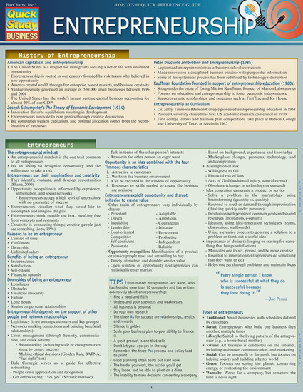 QuickStudy | Entrepreneurship Laminated Reference Guide)