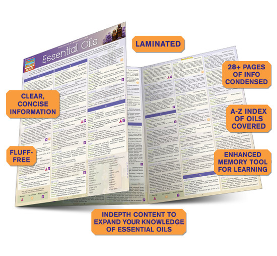 QuickStudy Quick Study Essential Oils Laminated Reference Guides Health BarCharts Publishing Guide Benefits