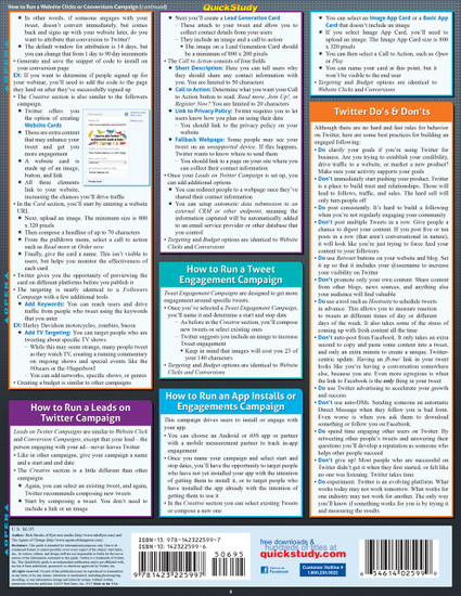 Quick Study QuickStudy Twitter Marketing Laminated Reference Guide BarCharts Publishing Social Media Marketing Outline Back Image