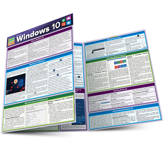 Quick Study QuickStudy Microsoft Windows 10 Laminated Reference Guide BarCharts Publishing Computer Browser Software Outline Main Image