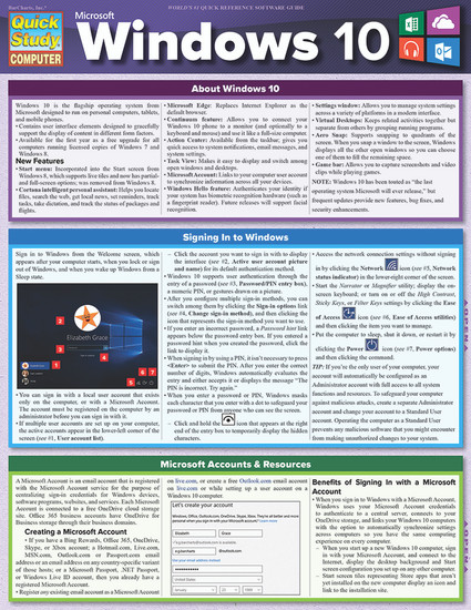 Quick Study QuickStudy Microsoft Windows 10 Laminated Reference Guide BarCharts Publishing Computer Browser Software Outline Cover Image