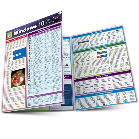Quick Study QuickStudy Microsoft Windows 10: Tips & Tricks Laminated Reference Guide BarCharts Publishing Computer Software Guide Main Image