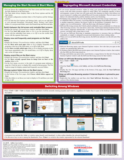 Quick Study QuickStudy Microsoft Windows 10: Tips & Tricks Laminated Reference Guide BarCharts Publishing Computer Software Guide Back Image