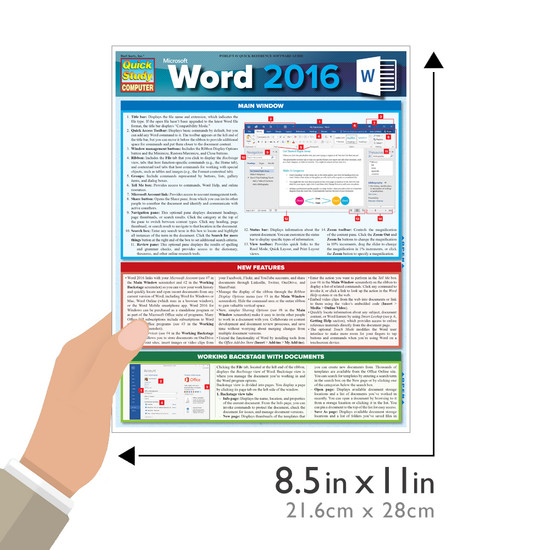 Quick Study QuickStudy Microsoft Word 2016 Laminated Reference Guide BarCharts Publishing Computer Software Guide Size