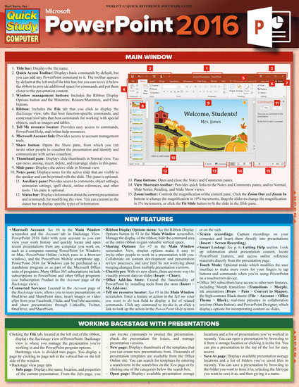 QuickStudy   Microsoft Powerpoint 2016 Laminated Reference Guide