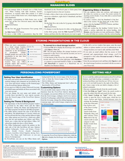 Quick Study QuickStudy Microsoft Powerpoint 2016 Laminated Reference Guide BarCharts Publishing Business Productivity Software Outline Back Image