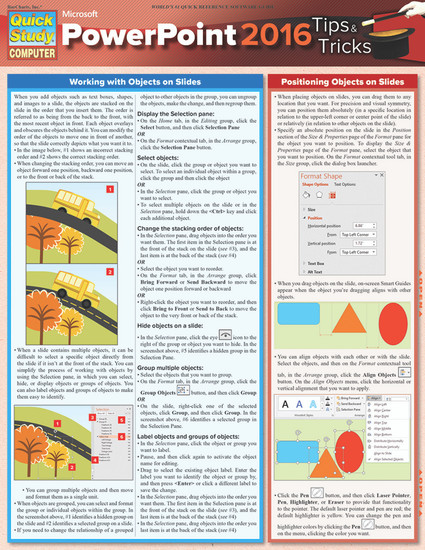 Quick Study QuickStudy Microsoft Powerpoint 2016: Tips & Tricks Laminated Reference Guide BarCharts Publishing Business Productivity Software Outline Cover Image
