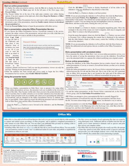 Quick Study QuickStudy Microsoft Powerpoint 2016: Tips & Tricks Laminated Reference Guide BarCharts Publishing Business Productivity Software Outline Back Image