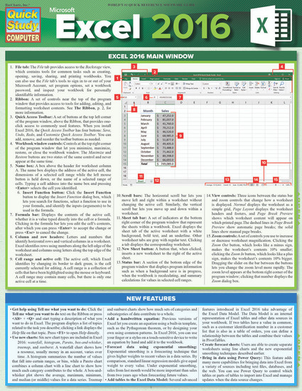 Quick Study QuickStudy Microsoft Excel 2016 Laminated Reference Guide BarCharts Publishing Computer Software Guide Cover Image