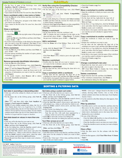 Quick Study QuickStudy Microsoft Excel 2016 Laminated Reference Guide BarCharts Publishing Computer Software Guide Back Image