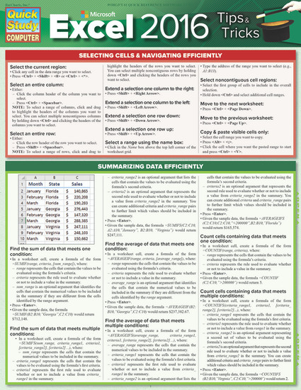 QuickStudy | Microsoft Excel 2016: Tips & Tricks Laminated Reference Guide