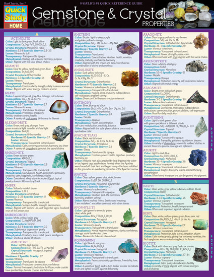 QuickStudy | Gemstone & Crystal Properties Laminated Reference Guide