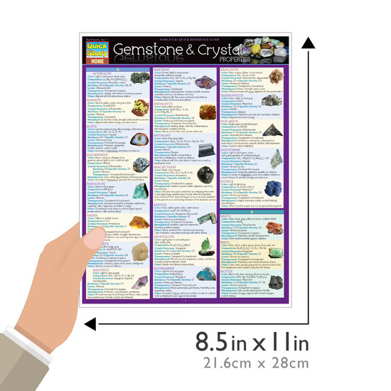 Quick Study QuickStudy Gemstone & Crystal Properties Laminated Reference Guide BarCharts Publishing Alternative Health Reference Outline Guide Size