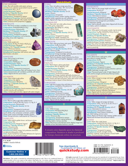Quick Study QuickStudy Gemstone & Crystal Properties Laminated Reference Guide BarCharts Publishing Alternative Health Reference Outline Back Image