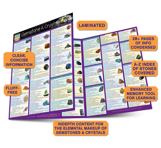 Quick Study QuickStudy Gemstone & Crystal Properties Laminated Reference Guide BarCharts Publishing Alternative Health Reference Outline Guide Benefits