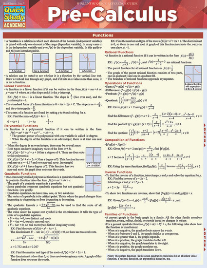 QuickStudy | Pre-Calculus Laminated Study Guide