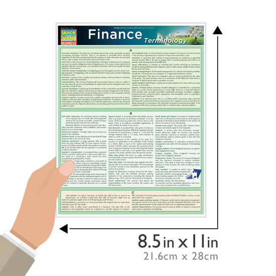 Quick Study QuickStudy Finance Terminology Laminated Study Guide BarCharts Publishing Business Guide Size