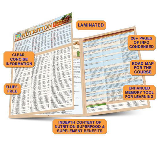 Quick Study QuickStudy Nutrition: Superfoods & Supplements Laminated Reference Guide BarCharts Publishing Health & Medical Reference Guide Benefits