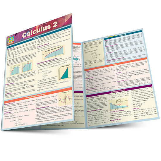 QuickStudy Quick Study Calculus 2 Laminated Study Guide BarCharts Publishing Math Reference Guide Main Image