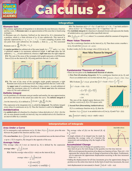 QuickStudy Quick Study Calculus 2 Laminated Study Guide BarCharts Publishing Math Reference Guide Cover Image