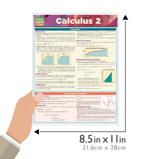 QuickStudy Quick Study Calculus 2 Laminated Study Guide BarCharts Publishing Math Reference Guide Size