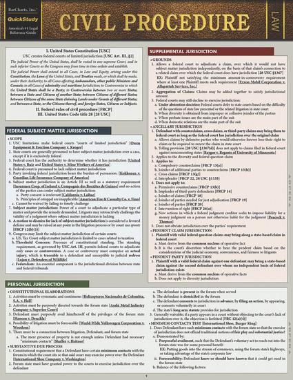 QuickStudy   Civil Procedure Laminated Study Guide