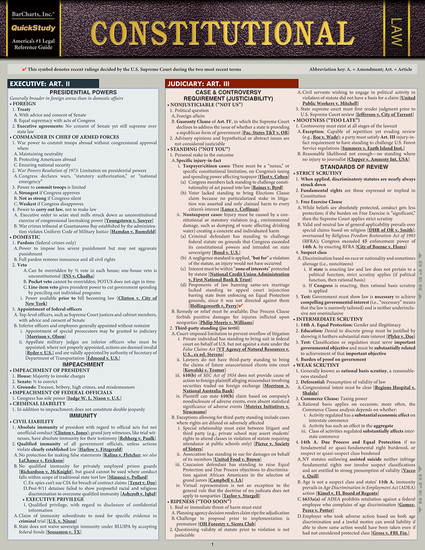 Quick Study QuickStudy Constitutional Law Laminated Reference Guide BarCharts Publishing Legal Guide Cover Image