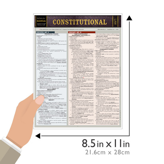 Quick Study QuickStudy Constitutional Law Laminated Reference Guide BarCharts Publishing Legal Guide Size