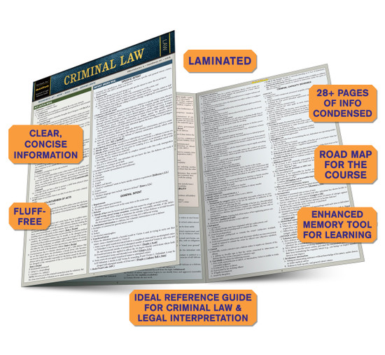 QuickStudy Criminal Law Laminated Reference Guide BarCharts Publishing Legal Reference Quick Study Guide Benefits