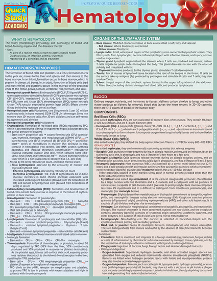 QuickStudy | Hematology Laminated Study Guide