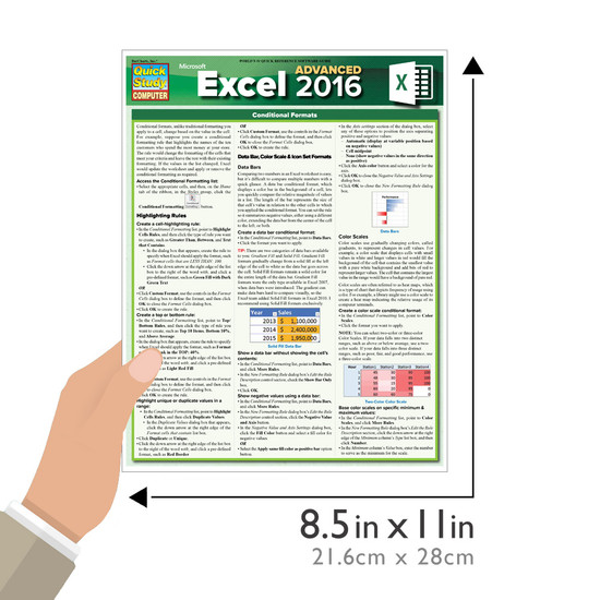 Quick Study QuickStudy Excel 2016 Advanced Laminated Reference Guide BarCharts Publishing Business Software Reference Guide Size