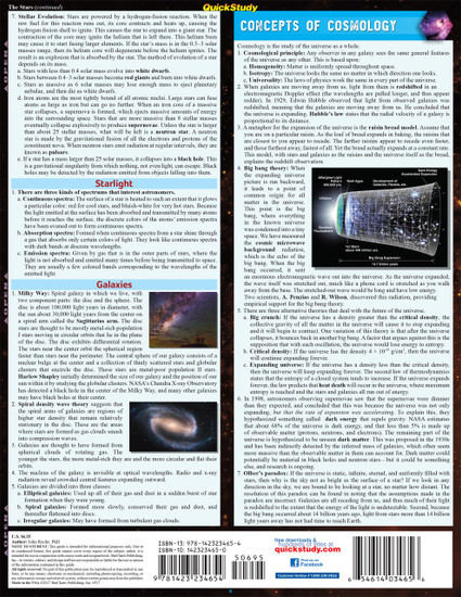 Quick Study QuickStudy Astronomy Laminated Study Guide BarCharts Publishing Academic Science Guide Back Image