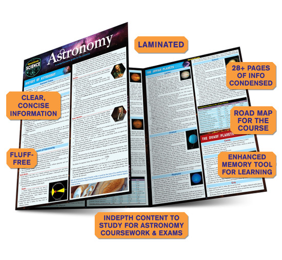 Quick Study QuickStudy Astronomy Laminated Study Guide BarCharts Publishing Academic Science Guide Benefits