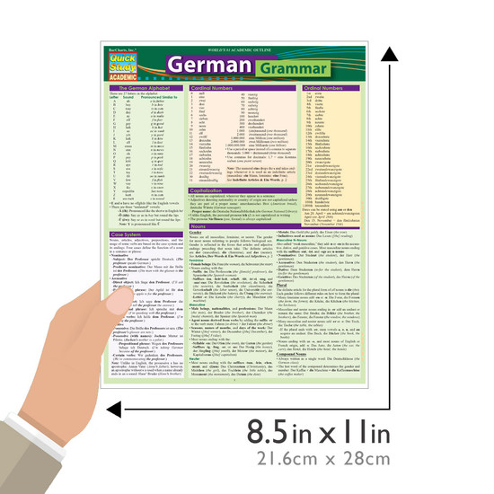 QuickStudy Quick Study German Grammar Laminated Study Guide BarCharts Publishing Foreign Languages Size