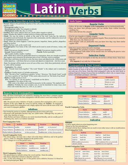 QuickStudy   Latin Verbs Laminated Study Guide