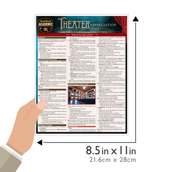 Quick Study QuickStudy Theater Appreciation Laminated Reference Guide BarCharts Publishing Drama Reference Guide Size