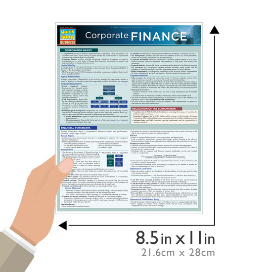 Quick Study QuickStudy Corporate Finance Laminated Study Guide BarCharts Publishing Business Guide Size