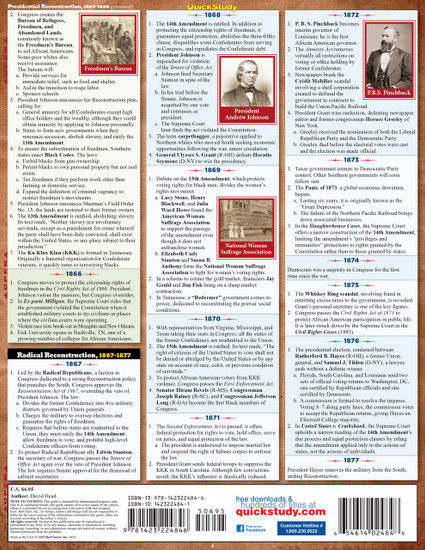 Quick Study QuickStudy American Civil War Laminated Study Guide BarCharts Publishing History Guide Back Image