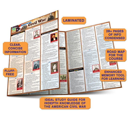 Quick Study QuickStudy American Civil War Laminated Study Guide BarCharts Publishing History Guide Benefits