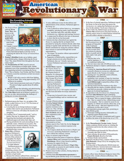 Quick Study QuickStudy American Revolutionary War Laminated Study Guide BarCharts Publishing Guide Cover Image