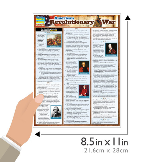 Quick Study QuickStudy American Revolutionary War Laminated Study Guide BarCharts Publishing Guide Size