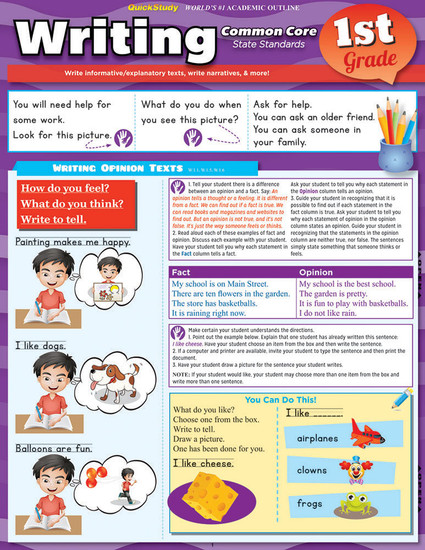 QuickStudy | Writing: Common Core - 1st Grade Laminated Study Guide)