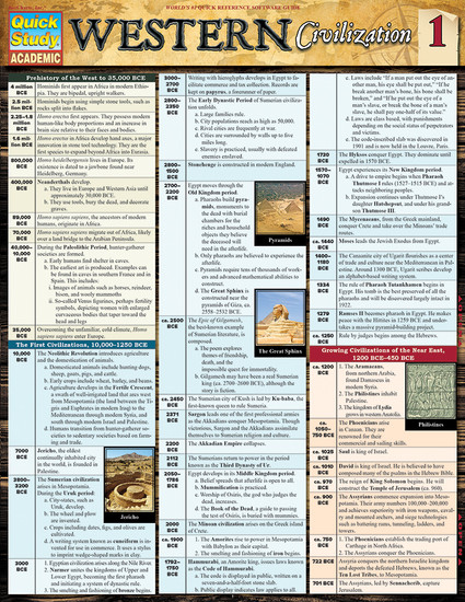 Quick Study QuickStudy Western Civilization 1 Laminated Study Guide BarCharts Publishing World History Reference Cover Image
