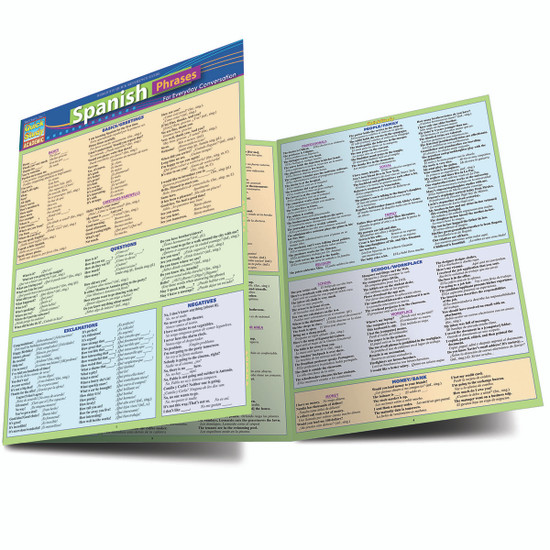 Quick Study QuickStudy Spanish Phrases Laminated Study Guide BarCharts Publishing Foreign Language Reference Main Image