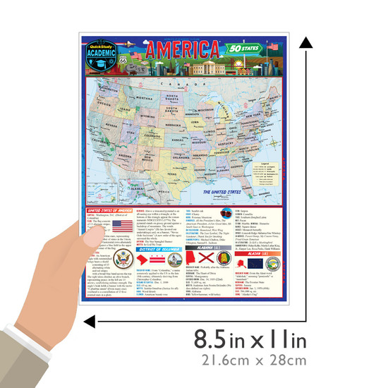 Quick Study QuickStudy America: 50 States Laminated Study Guide BarCharts Publishing American History Reference Guide Size